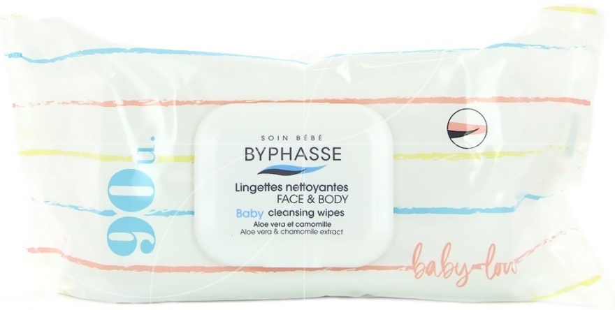 Детски мокри кърпички, 90 бр. - Byphasse Baby Cleansing Wipes Face and Body