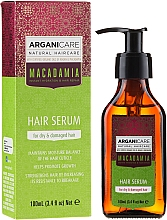 Парфюмерия и Козметика Серум за суха и изтощена коса коса с макадамия и арганово масло - Arganicare Macadamia Hair Serum for Dry & Damaged Hair