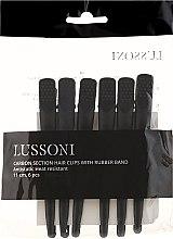 Парфюмерия и Козметика Карбонови щипки за коса, черни - Lussoni