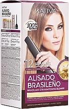 Парфюмерия и Козметика Комплект за кератиново изправяне на светли коси - Kativa Alisado Brasileno Straighten Blonde (шамп./15ml + маска/150ml + шамп./30ml + балсам/30ml)