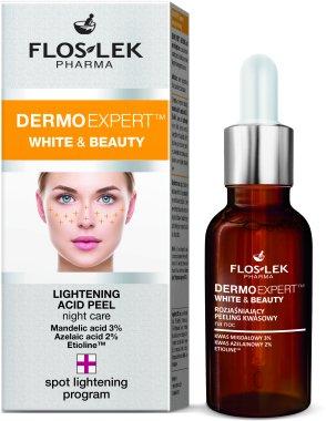 Избелващ киселинен пилинг за лице - Floslek White & Beauty Night Peeling — снимка N1