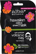 Парфюмерия и Козметика Черна памучна маска за лице - Alba Botanica Hawaiian Detox Sheet Mask Anti-pollution Volcanic Clay