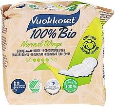 Парфюми, Парфюмерия, козметика Дамски превръзки с крилца, 12 бр - Vuokkoset 100% Bio Normal Wings