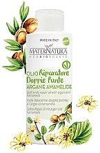 Парфюмерия и Козметика Арганово масло за разделени краища на косата с екстракт от хамамелис - MaterNatura