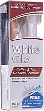 Парфюмерия и Козметика Комплект за зъби с бяло-розова четка - White Glo Coffee & Tea Drinkers Formula Whitening Toothpaste (паста/100ml + четка)