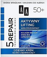 """Парфюмерия и Козметика Дневен укрепващ крем за лице """"Активен лифтинг"""" 50+ - AA Age Technology 5 Repair Day Cream 50+"""