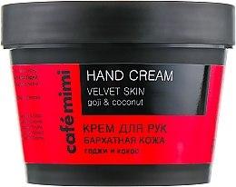 Парфюмерия и Козметика Крем за ръце с годжи бери и кокос - Cafe Mimi Hand Cream Velvet Skin