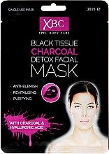 Парфюмерия и Козметика Почистваща маска за лице с въглен - Xpel Marketing Ltd Body Care Black Tissue Charcoal Detox Facial Face Mask