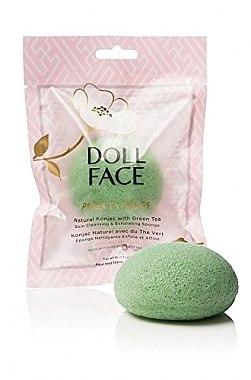 Почистваща гъба за лице - Doll Face Pretty Puff Natural Konjac With Green Tea Skin Cleansing & Exfoliating Sponge — снимка N3