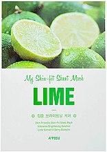 Парфюмерия и Козметика Интензивно изсветляваща памуна маска за лице с екстракт от лайм - A'pieu My Skin-Fit Sheet Mask Lime