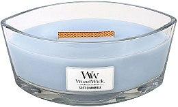 Парфюмерия и Козметика Ароматна свещ в чаша - WoodWick Hearthwick Flame Ellipse Candle Soft Chambray