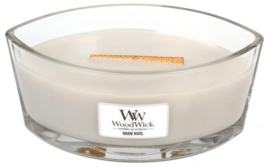 Ароматна свещ в чаша - WoodWick Hearthwick Flame Ellipse Candle Warm Wool — снимка N1
