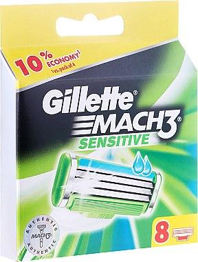 Сменяеми ножчета за бръснене, 8  бр. - Gillette Mach3 Sensitive — снимка N1