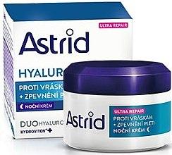 Парфюми, Парфюмерия, козметика Успокояващ нощен крем - Astrid Hyaluron Plus Ultra Repair Antiwrinkle and Firming Night Cream SPF 10