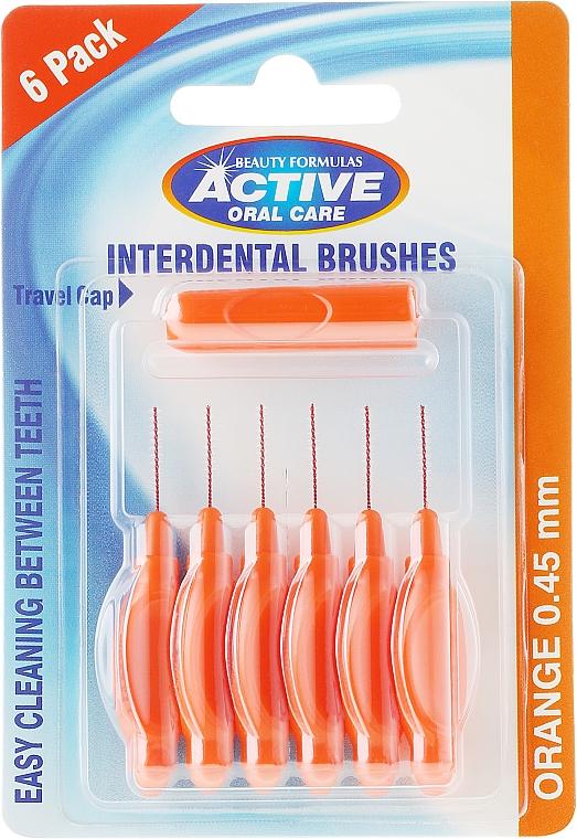 Интердентални четки за зъби, 0,45мм, оранжев цвят - Beauty Formulas Active Oral Care Interdental Brushes
