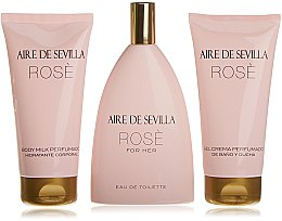 Парфюми, Парфюмерия, козметика Instituto Espanol Aire de Sevilla Rose - Комплект (edt/150ml + b/milk/150ml + sh/cr/150ml)