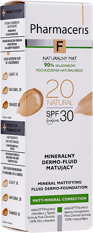 Минерален матиращ флуид за лице SPF 30 - Pharmaceris F Mineral Mattifying Fluid Dermo-Foundation SPF 30