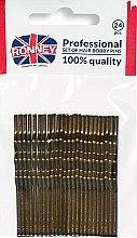 Парфюмерия и Козметика Фиби, бронзови 60 мм, 24 бр. - Ronney Bronze Hair Bobby Pins