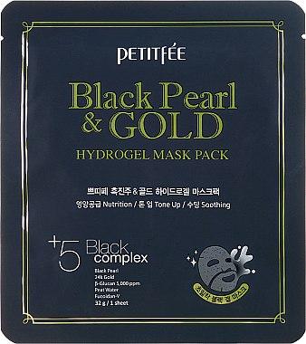 Хидрогелна маска за лице с злато и черна перла - Petitfee&Koelf Black Pearl & Gold Hydrogel Mask Pack — снимка N1