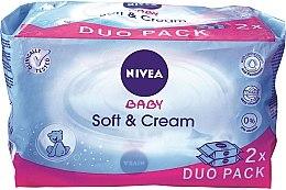 Парфюми, Парфюмерия, козметика Детски мокри кърпички 2x63 szt - Nivea Baby Soft & Cream