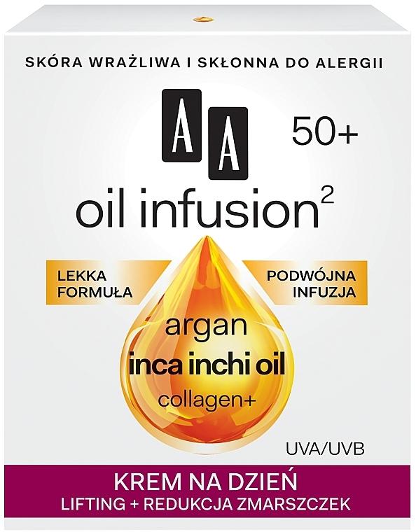 Дневен крем за повдигане на бръчките - AA Oil Infusion Day Lifting Cream For Wrinkles 50+