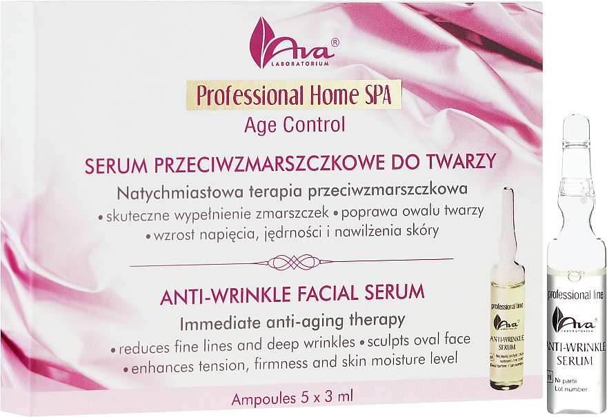 Серум за лице против бръчки на ампули - Ava Laboratorium Home SPA Anti-Wrinkle Facial Serum
