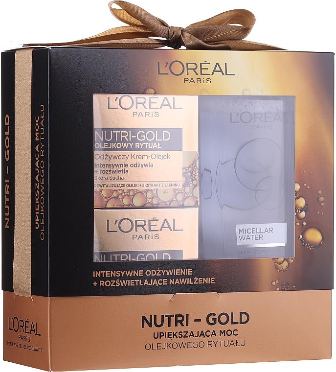 Комплект за лице - Loreal Nutri Gold (крем-маска/50 ml + крем-масло.50 ml + мицел. вода/200 ml)