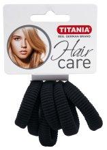 Парфюмерия и Козметика Ластици за коса, средни, черни - Titania