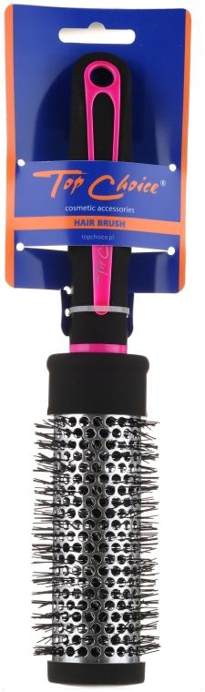 """Четка за коса """"Neon"""" кръгла 37мм, 63718, черна с розово - Top Choice — снимка N1"""
