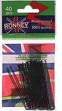 Парфюми, Парфюмерия, козметика Фуркети, черни 65 мм, 40 бр. - Ronney Black Small Set Of Hair Pins