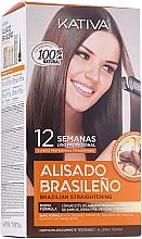 Парфюмерия и Козметика Комплект за кератиново изправяне на косата - Kativa Alisado Brasileno Con Glyoxylic & Keratina Vegetal Kit