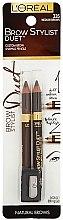 Парфюми, Парфюмерия, козметика Комплект моливи за вежди - L'Oreal Paris Brow Stylist Brow Shaping Duet Sharpener (b/pencil/0.80g + b/pencil/0.80g + sharpener)