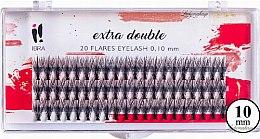 Парфюмерия и Козметика Мигли на снопчета, C 0,1 мм, 10 мм - Ibra Extra Double 20 Flares Eyelash C 10 mm