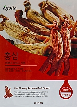 Парфюмерия и Козметика Памучна маска за лице с екстракт от женшен - Esfolio Red Ginseng Essence Mask Sheet