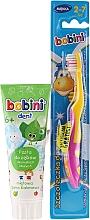 Парфюмерия и Козметика Детски комплект за зъби с жълто-розова четка - Bobini (четка + паста/75ml)