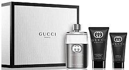 Парфюми, Парфюмерия, козметика Gucci Guilty Eau Pour Homme - Комплект (тоалетна вода/90ml + душ гел/50ml + балсам афтършейв/75ml)