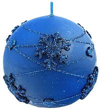 Парфюмерия и Козметика Декоративна свещ, топка, синя, 8 см - Artman Snowflake Application