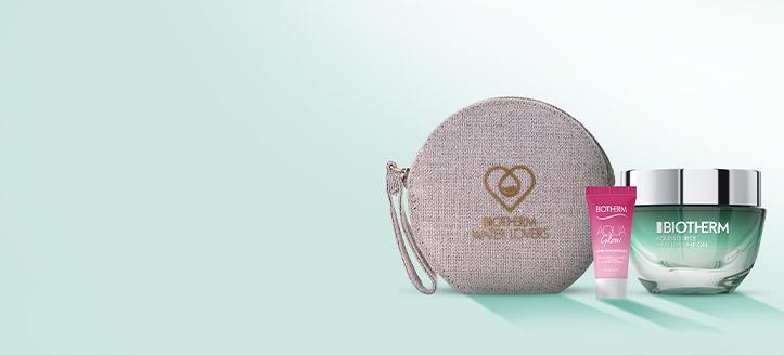 При покупка на продукти Biotherm за сума над 85 лв. получавате козметична чанта и Aqua Glow 5 мл. подарък