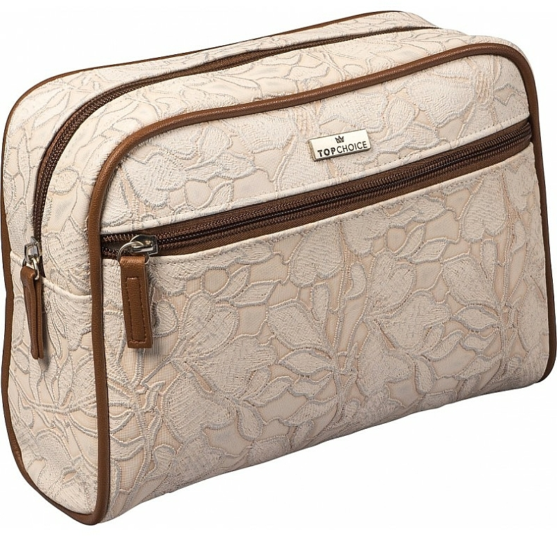 "Дамска козметична чанта ""Lace"", 98628, светлокафява - Top Choice"