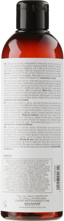 Шампоан за поддържане на цвета - Alfaparf Milano Pigments Nutritive Shampoo — снимка N2