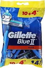 Парфюмерия и Козметика Комплект самобръсначки за еднократна употреба 10+4бр - Gillette Blue II Plus