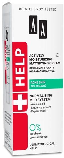 Активно овлажняващ и матиращ крем за лице против акне - AA Help Actively Moisturizing Mattifying Cream Acne Skin