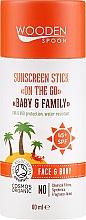 Парфюмерия и Козметика Слънцезащитен стик за лице и тяло за цялото семейство - Wooden Spoon Sunscreen Stick On The Go SPF 45