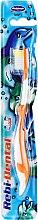Парфюмерия и Козметика Детска четка за зъби Rebi-Dental M16, мека, оранжево-бяла - Mattes