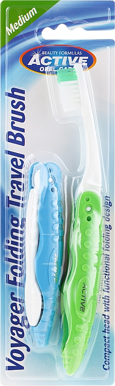 Сгъваема четка за зъби, зелена - Beauty Formulas Voyager Active Folding Dustproof Travel Toothbrush Medium