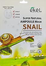 Парфюмерия и Козметика Памучна маска за лице с екстракт от охлюв - Ekel Super Natural Ampoule Mask Snail