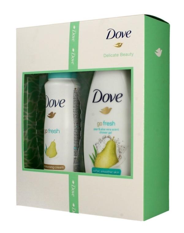 Комплект дезодорант и душ гел - Dove Delicate Beauty Go Fresh (gel/shower/250ml + deo/spray/150ml) — снимка N1