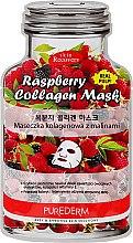 Парфюмерия и Козметика Памучна маска за лице с екстракт от малина - Purederm Raspberry Collagen Mask