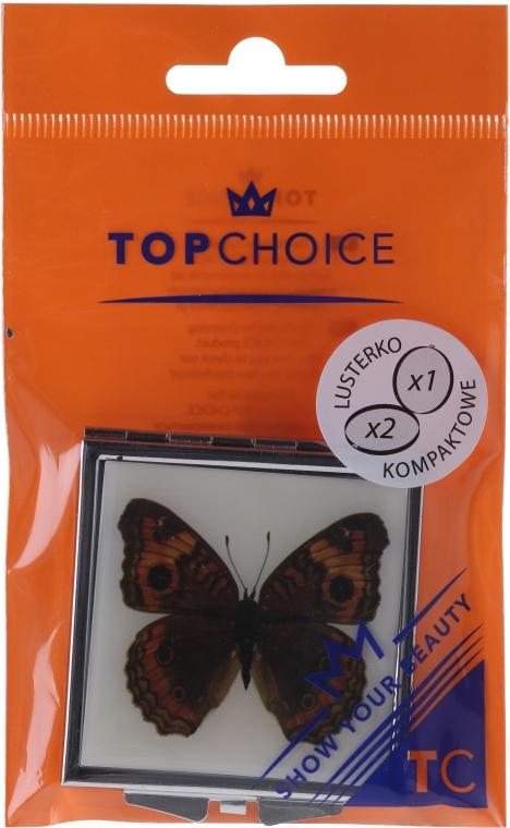 "Компактно огледалце, ""Пеперуда"" 85420, кафява - Top Choice — снимка N1"