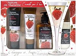 Парфюми, Парфюмерия, козметика Комплект - Nature de Marseille Stawberry (душ гел/100ml + крем за ръце/60ml + балсам за тяло/150ml + сапун/90g)